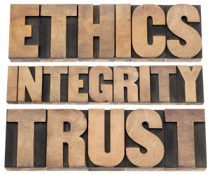 ethics, integrity, trust word - a collage of isolated text in vi