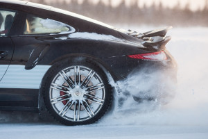 LEVI, FINLAND - FEB 20: Rear wheel spin of a PORSCHE 911 TURBO c