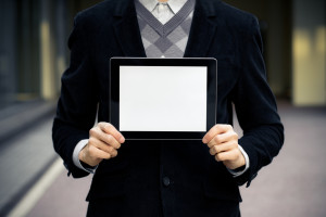 Business Man Shows Blank Digital Tablet