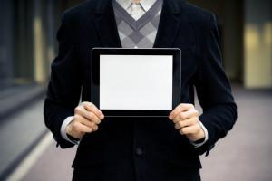 Business Man Shows Blank Digital Tablet