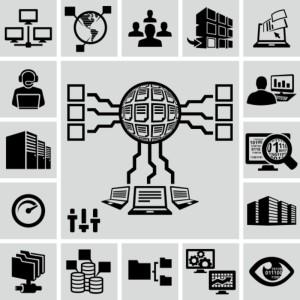 Servers, network, database, data analytics icons set