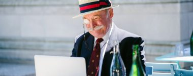 old man on laptop